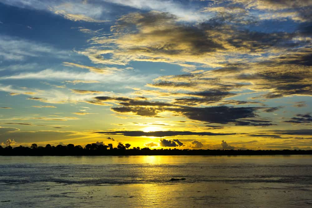 Sunset over the Amazon in Leticia