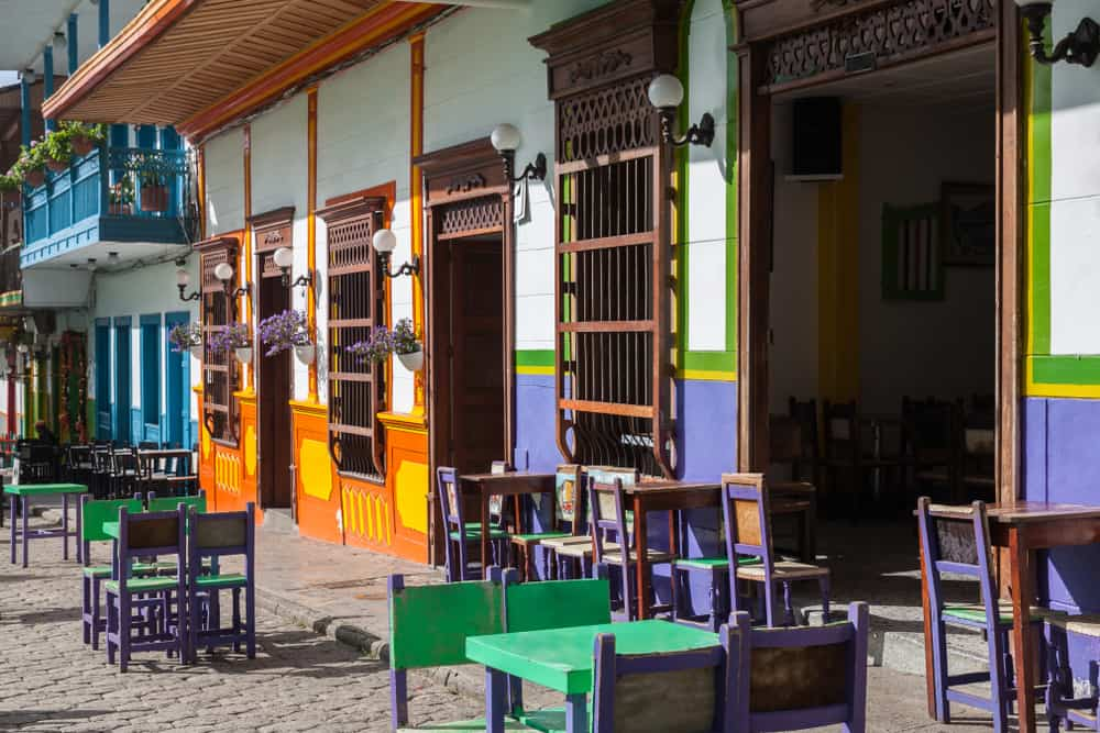 Colorful chairs on the main square - Jardin