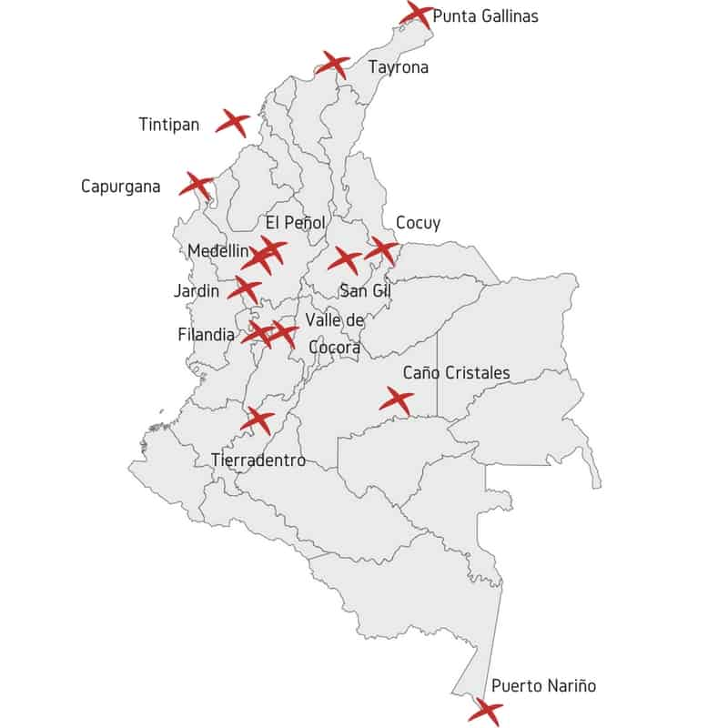 Map Tourist Colombia attractions