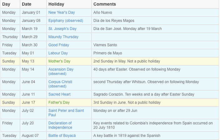 Public holidays in Colombia Calendar