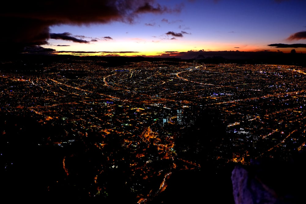 Sunset over Bogota View from Monserrate