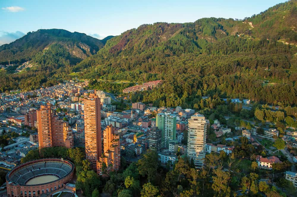 A view of the center of Bogota with the Andes