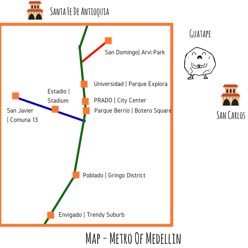 Map Metro Of Medellin