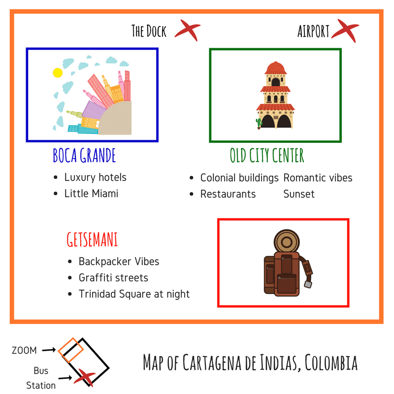 Map of Cartagena, one of the largest cities in Colombia