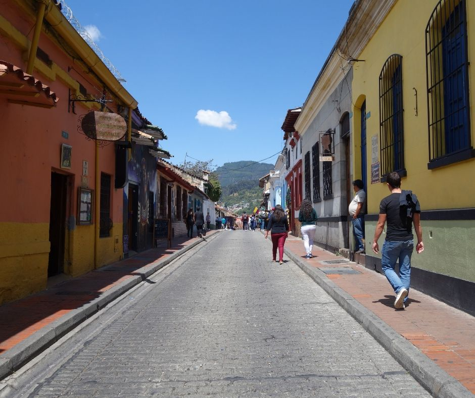 Colorful street in La Candelaria, Bogota