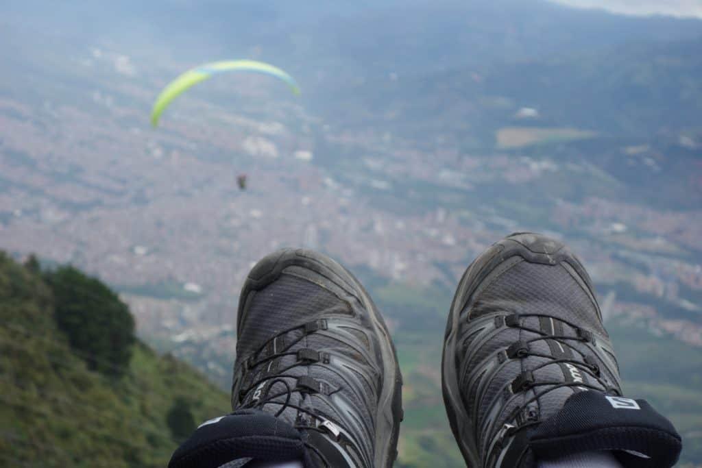 Feet Paragliding above Medellin