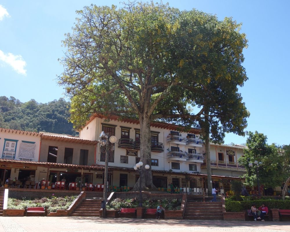 Jerico, main square with a giant tree. 1 week in Colombia itinerary