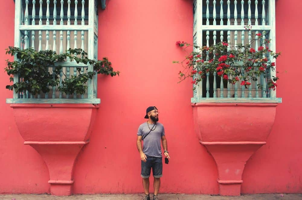 Colorful wall Street Cartagena