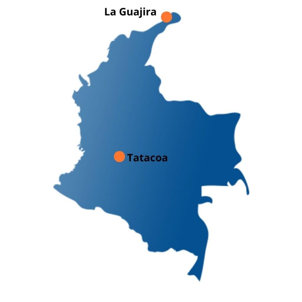Déserts Carte de la Colombie