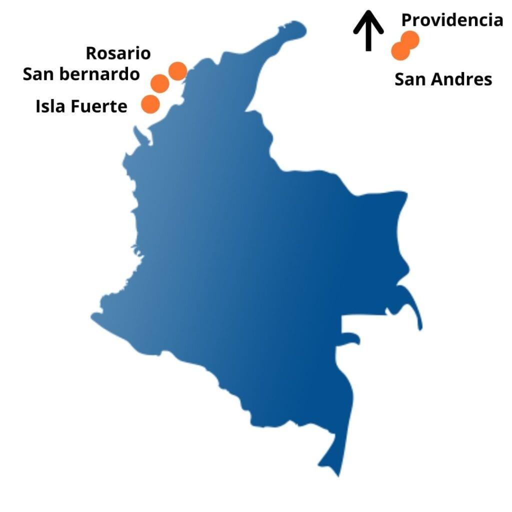 Iles paradisiaques carte de la Colombie