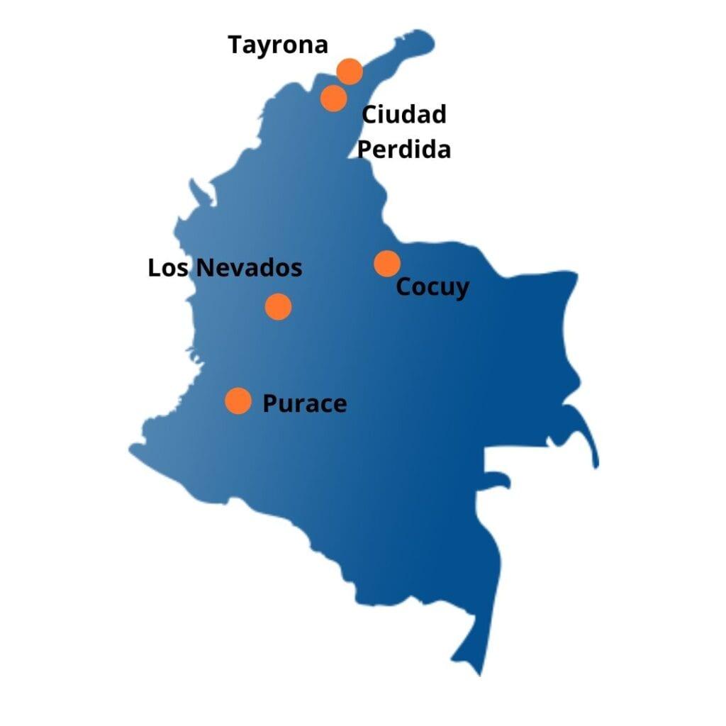Parcs nationaux Carte de la Colombie
