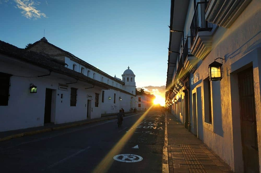 sunset in the street popayan