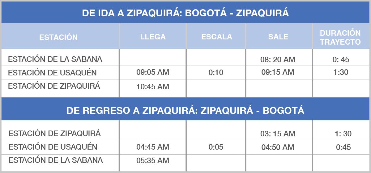 Horarios tren Zipaquira